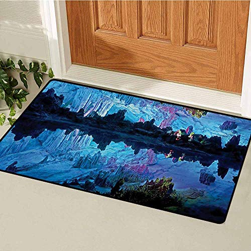 GUUVOR Natural Cave Welcome Door mat Illuminated Reed Flute Cistern with Artifical Crystal Palace Myst Cave Image Print Door mat is odorless and Durable W23.6 x L35.4 Inch Blue (Best Myst Like Games)
