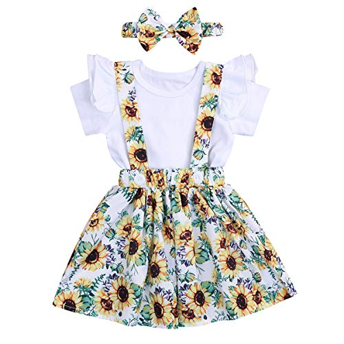 3PCS Toddler Baby Girls Clothes Ruffle Short Sleeve Top + Sunflower Skirt + Headband Outfit Floral Dress (White, 2-3 T)