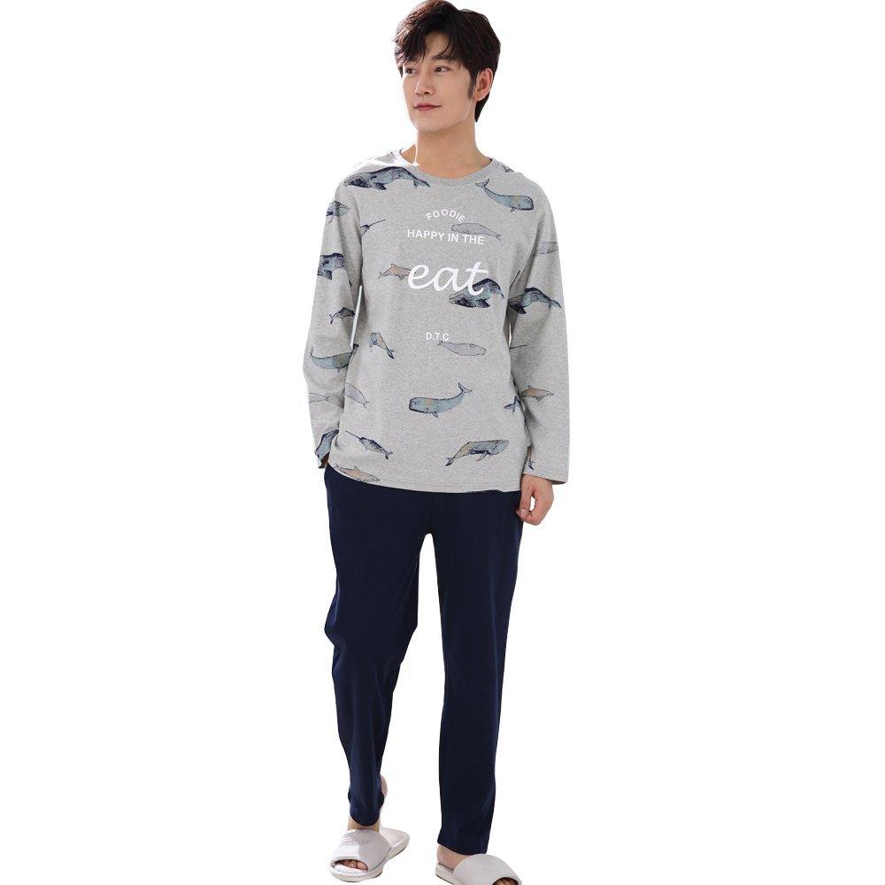 None Men Pajamas Long-Sleeved Autumn Winter Male Sleepwear Pure Cotton Pajamas