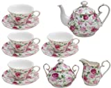 Gracie China by Coastline Imports Pink Summer Rose Chintz 11-Piece Tea Set