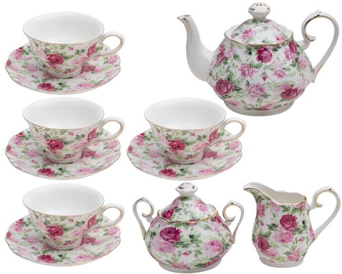 Summer Chintz - Gracie China by Coastline Imports Pink Summer Rose Chintz 11-Piece Tea Set