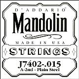 D'Addario J7402 Plain Steel Mandolin Single String, Second String, .015