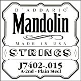 D\'Addario J7402 Plain Steel Mandolin Single String, Second String, .015