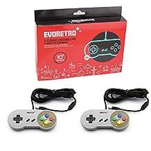 USB SNES Controllers (2-Pack) Classic Nintendo NES Emulator Gamepads w/ 10 Cords | Raspberry Pi 3 | Plug-and-Play TV, PC, MacOS Video Gaming | By EVORETRO