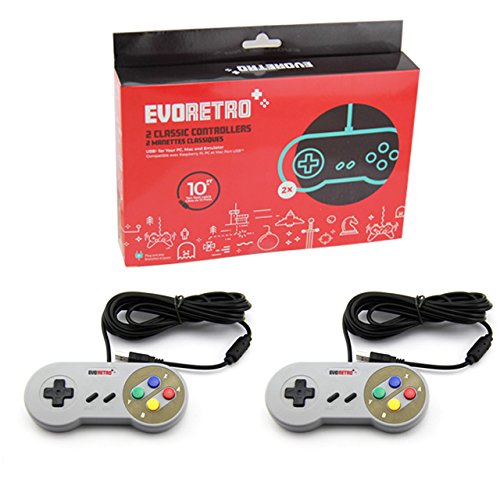 USB SNES Controllers (2-Pack) Vintage Nintendo Compatible NES Emulator Gamepads | Raspberry Pi 3 | Plug-and-Play USB Wired | TV Video Gaming w/ 10' Long Cords by EvoRetro