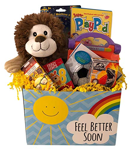 Deluxe Boys Feel Better Soon Get Well Gift Basket Care Package For Kids Prefilled with Toys, Activities, and Plush Ages ()