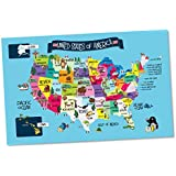 USA Map Memory Game and Activity Paper Placemats - Learn the States and Capitals on 25 Fun Double-sided Worksheets