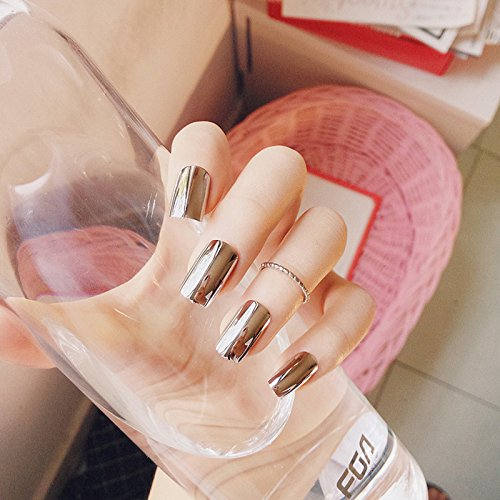 Amazon.com : CoolNail Metal Mirror Silver False Nail Tips Manicure Metalic Pure Silver Plating Punk Style 24PCS Long Size Fake Nail Art Decorations : Beauty