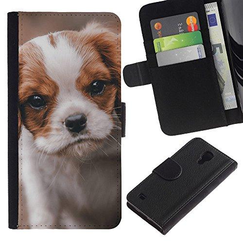 EuroCase - Samsung Galaxy S4 IV I9500 - cavalier king Charles puppy dog vignette - Cuero PU Delgado caso cubierta Shell Armor Funda Case Cover