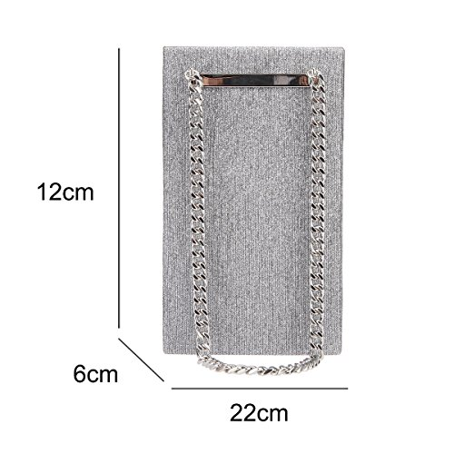 Evening for Bag Chain Big Party Bonjanvye Gray Purses Shining Clutch Women 0xanq4w