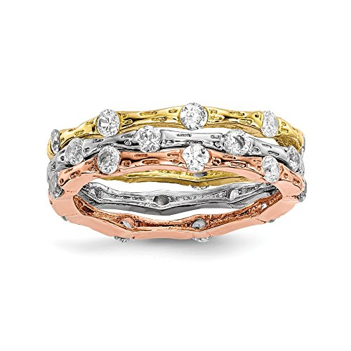 Sterling Silver Triple Stack Ring (Solid Sterling Silver Rose & Gold-tone CZ Cubic Zirconia AAA+ Stack Rings Size 6)
