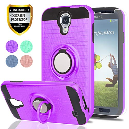 S4 Case,Galaxy S4 Case with HD Phone Screen Protector,Ymhxcy 360 Degree Rotating Ring & Bracket Dual Layer Resistant Back Cover for Samsung Galaxy S4-ZH Purple (Samsung Galaxy S4 Case And Screen Protector)