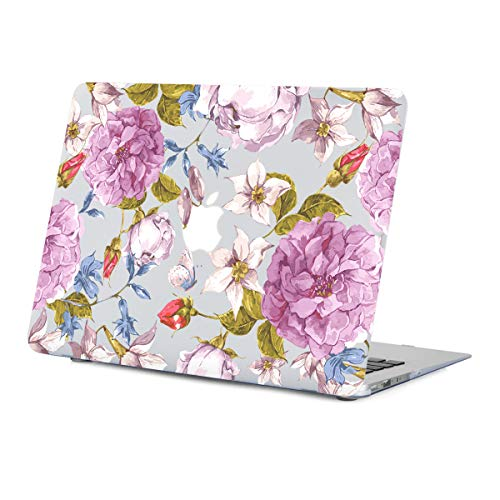 MacBook Air 13.3 inch Case Floral,Purple Flower Case for MacBook Air 13.3 inches Model:A1466/A1369 Released 2010-2017, Rubberized Soft-Touch Matte See Through Clear Hard Shell Case with Keyboard Cover