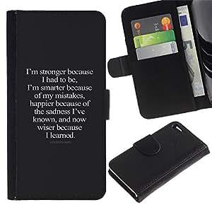 Paccase / Billetera de Cuero Caso del tirón Titular de la tarjeta Carcasa Funda para - stronger smarter happier wiser inspiring - Apple Iphone 4 / 4S