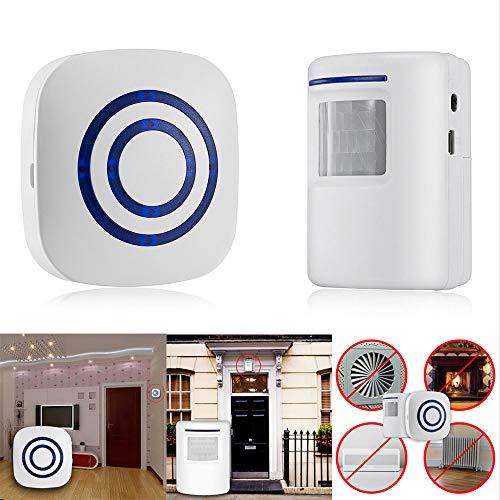 (Tharv❤Wireless Door Motion Sensor Detector Smart Visitor doorbell Home Security Alarm White)
