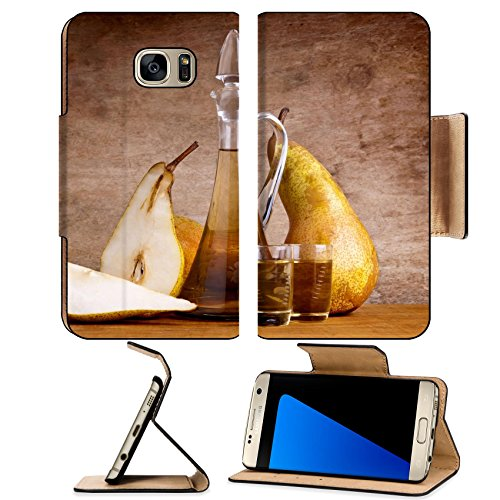 Brandy Vintage Bottle (MSD Premium Samsung Galaxy S7 Edge Flip Pu Leather Wallet Case IMAGE ID: 14653629 still life composition with fruit brandy and pears on a wooden vintage background)