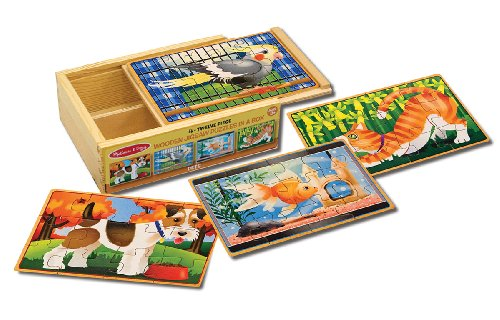 Price comparison product image Melissa & Doug Pets 4-in-1 Wooden Jigsaw Puzzles in a Storage Box (48 pcs)