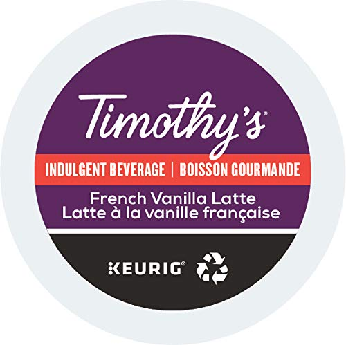 Timothy S French Vanilla Latte Single Serve Keurig Certified Recyclable K Cup Pods For Keurig Brewers 24 Count