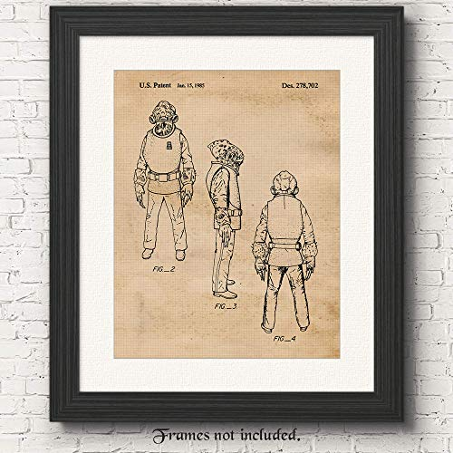 Original Star Wars Admiral Ackbar Patent Art Poster Print - Set of 1 (One 11x14) Unframed - Great Wall Art Decor Gifts for Home, Office, Studio, Garage, Man Cave, Kids -