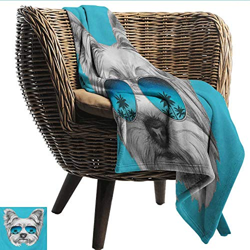 Reversible Blanket Yorkie Yorkshire Terrier Portrait with Cool Mirror Sunglasses Hand Drawn Cute Animal Art Fall Winter Spring Living Room W54 xL72 Sofa,Picnic,Camping,Beach,Everyday -