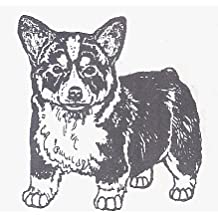 "Dog Rubber Stamp - Welsh Corgi Pembroke-3E (Size: 2"" Wide X 2"" Tall)"