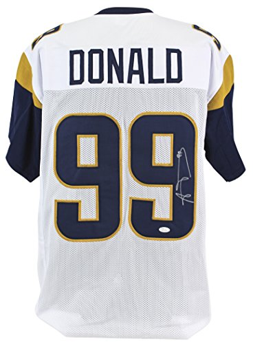 Rams Aaron Donald Authentic Signed White Jersey Autographed JSA Witness