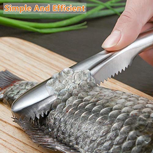 SUPERBEAR 2 Pieces Fish Scaler Remover Fish Scaler Brush with 58 Stainless Steel Sawtooth Easily Remove Fish Scales Skin Cleaning Tool Scraper for Chef and Home Cooks