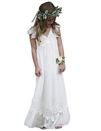 da3a800637 Amazon.com  Mulanbridal Lace Flower Girl First Communion Dresses Pageant  Wedding Party Birthday Dress 2-12 Years Old  Clothing