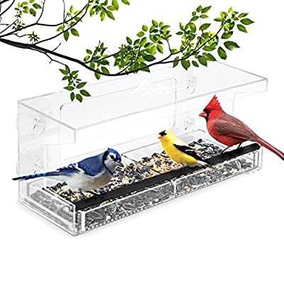 Wild Birds of Joy Window Bird Feeder by Clear Acrylic Easy Clean Squirrel Resistant with Removable Tray and Super Strong Suction Cups