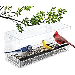 Wild Birds of Joy Window Bird Feeder by Large Clear Acrylic Easy Clean Squirrel Resistant with Removable Tray and 4 Super Strong Suction Cups
