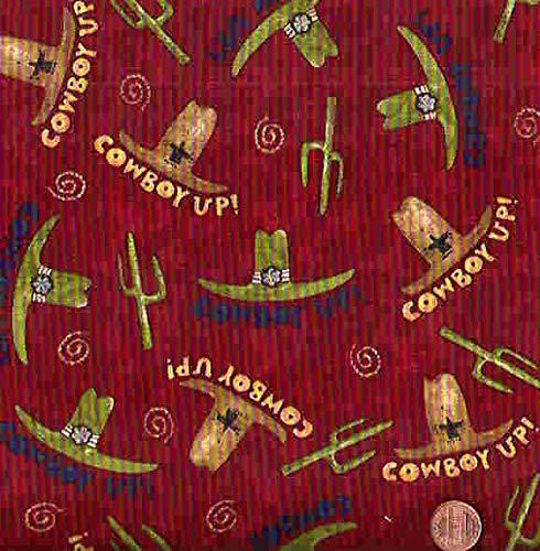 Debbie Mumm Cotton Fabric - Rodeo Dark red Cowboy Hats Western South Seas Debbie Mumm Fabric
