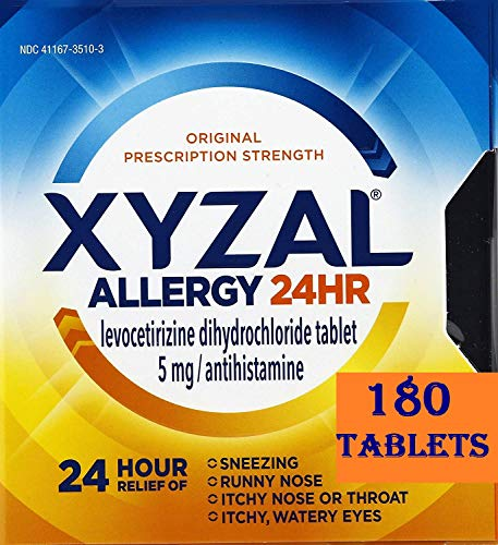 Xyzal Allergy 24 Hour, Allergy Tablet, 180 Count, All Day and Night Relief from Allergy Symptoms Including Sneezing, Runny Nose, Itchy Nose or Throat, Itchy, Watery Eyes (180 Count Total)