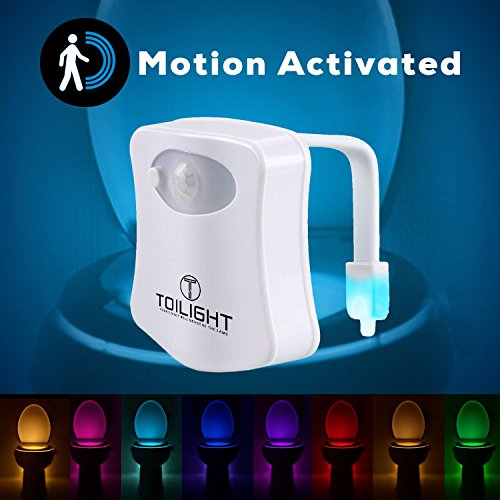 The Original Toilet Night Light - Toilet Lighting & Bathroom Night Light - Motion Sensor Activated LED - Toilet Bowl Light - 9 Color Modes Including Blue - Light Up Your Toilet Seat