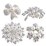 Crystal Bridal Brooch Bouquets for Wedding Pack of 4PCS (Silver)