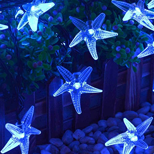 LUCKLED Original Starfish Solar String Lights, 20ft 30 LED Fairy Christmas Lights Halloween Lights Halloween Decorative Lighting for Garden, Home, Patio, Party and Holiday Decorations(Blue)