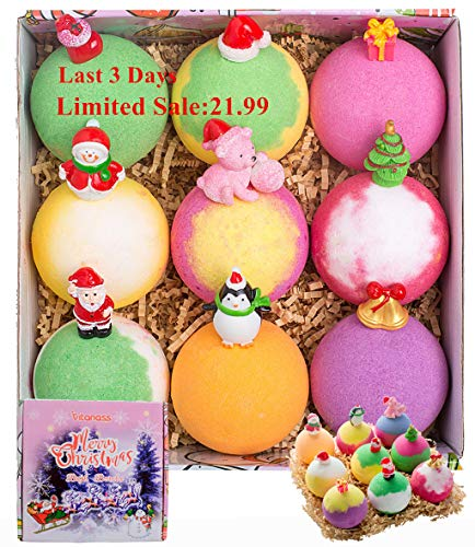 Christmas Bath Bombs for Kids with Surprise Toys Inside, VITANASS 9 Large Vegan Essential Oil Spa Bubble Bath Fizz Balls Kit,Beauty Gifts Set For Girls/Boys/Women,Mom,Teens,Her on Christmas New Year