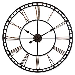 The Tower XXL Black 39 inch Large Oversized Wall Clock Decor | Large Roman Numerals Open Face | Quartz Movement High Torque | Strong Metal Frame