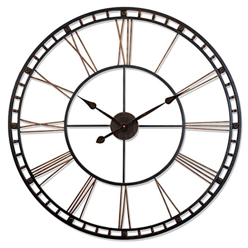 Infinity Instruments The Tower XXL Black 39 inch Large Oversized Wall Clock Decor | Large Roman Numerals Open Face | Quartz Movement High Torque | Strong Metal Frame