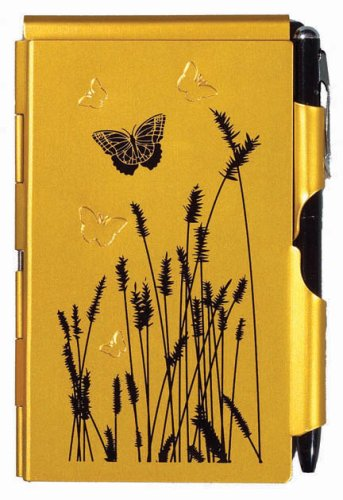 Wellspring Flip Notes Metal Note Case with Mini Pen and Notepad, Tangerine with Butterfly