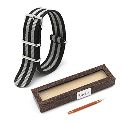 Ritche Replacement Nato Style Straps 3 Widths (18mm, 20mm or 22mm),nylon Watch Strap Band (Black/Grey, 20mm)