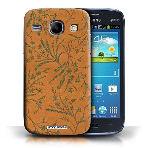 Kobalt® Imprimé Etui / Coque pour Samsung Galaxy Core / Orange/Vert conception / Série Motif floral blé