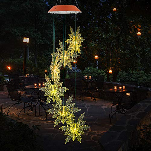 Norbi Solar Powered Wind Chime Solar Power Wind Mobile Waterproof Led Windchimes for Patio Yard Garden Home Pathway Party Decoration(Snowflake)
