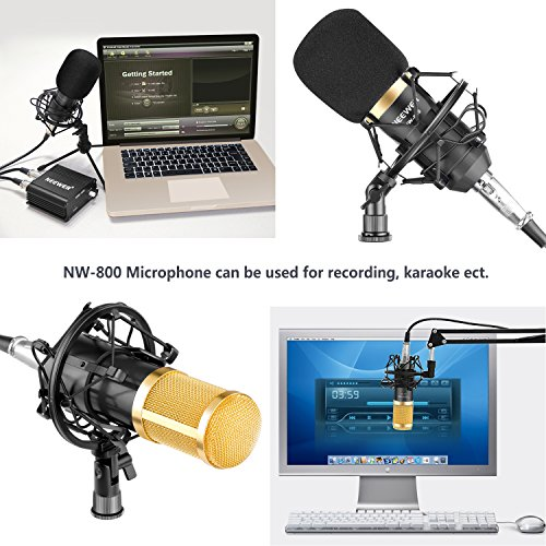 Neewer NW-800 Professional Studio Broadcasting & Recording Microphone Set Including (1)NW-800 Professional Condenser Microphone + (1)Microphone Shock Mount + (1)Ball-type Anti-wind Foam Cap + (1)Microphone Power Cable (Black) - Image 5