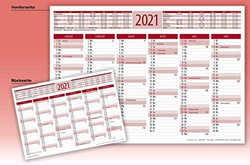 2021 Tischkalender Tafelkalender DIN A4 3 Stück (rot)