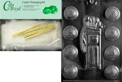 (Cybrtrayd Mdk25G-S028 Golf, Caddy, Balls Sports Chocolate Candy Mold, Includes 25 Cello Bags and 25 Gold Twist)