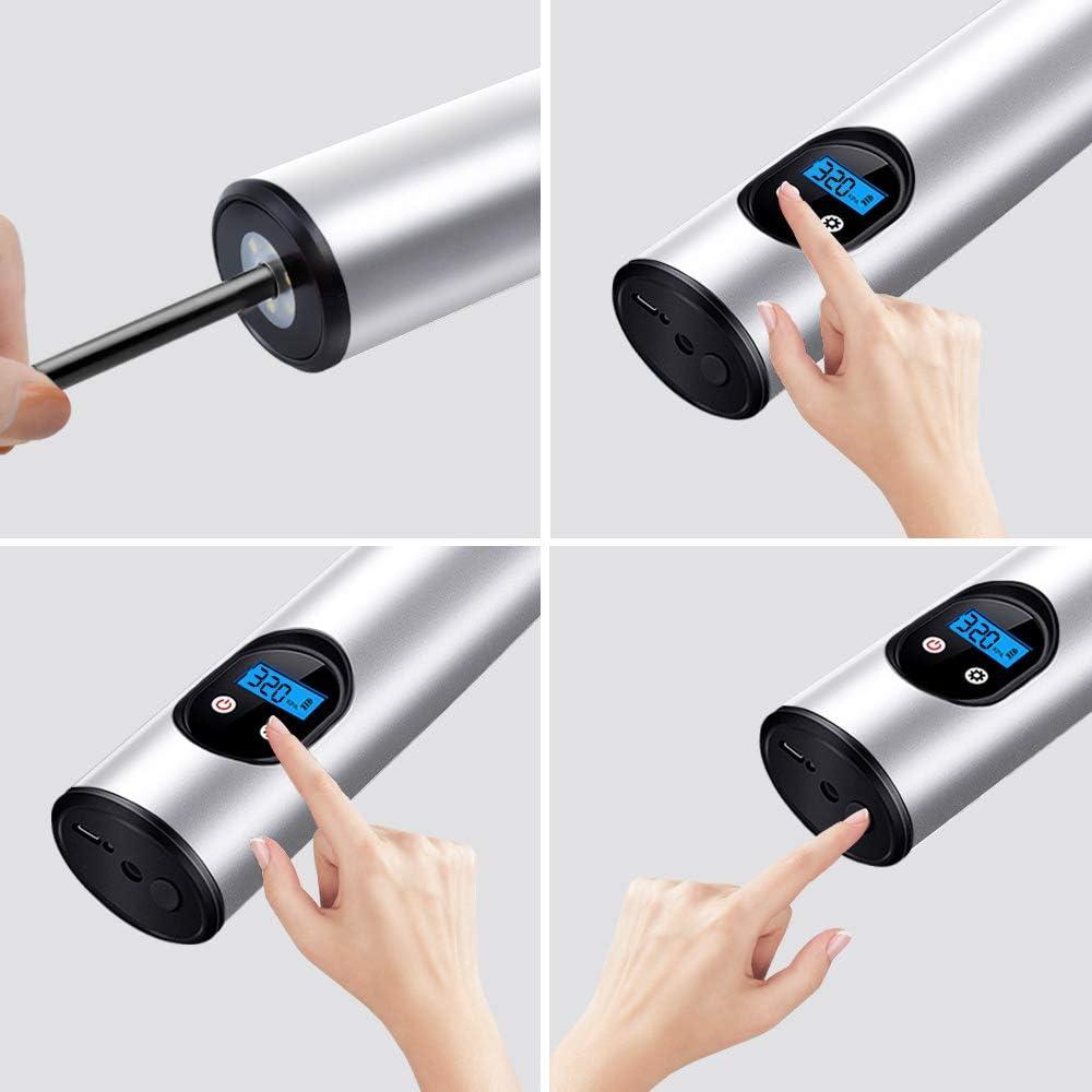 kabelloser -Reifenf/üller f/ür Motorrad Black Ball Fahrrad Kingshark Autoluftpumpe elektrische Wiederaufladbarer Mini-Reifenf/üller LED-Beleuchtung tragbarer Luftkompressor digitaler LCD-Anzeige