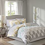 master bedroom bedding  Essentials Central Park Queen Size Bed Comforter Set Bed in A Bag - Yellow, Aqua, Grey, Leaf – 9 Pieces Bedding Sets – Ultra Soft Microfiber Bedroom Comforters