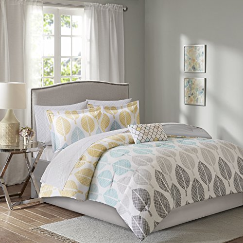 Madison Park Essentials Central Park King Size Bed Comforter Set Bed In A Bag - Yellow, Aqua, Grey, Leaf – 9 Pieces Bedding Sets – Ultra Soft Microfiber Bedroom Comforters