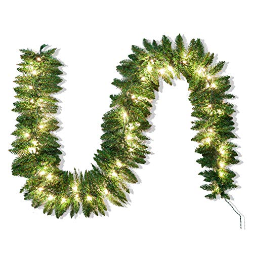Joiedomi 9Ft Artificial Christmas Garland Prelit with 50 Lights (Christmas Staircase Garland)