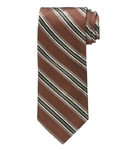 Signature Stripe Extra Long Tie  Rust W Olive Str  X Long